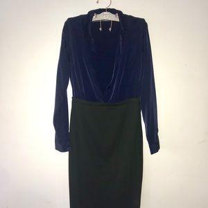 ASOS Midi Sheath Navy & Black Dress Size US 8